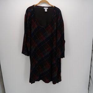 Catherines Scoop Neck 3/4 Sleeve Shift Dress